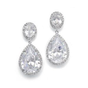 Clip-On Couture CZ Pear Drop Earrings