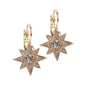 Golden Starburst Earrings on Euro Wire Hooks