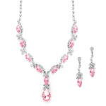Pink Crystal Rhineston Necklace Set