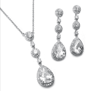 Pear Drop CZ Necklace Set