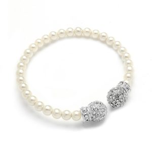 Pearl Cuff Bracelet with Crystal Accents