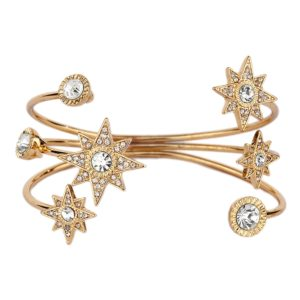 Moon and Stars Golden Cuff Bracelet