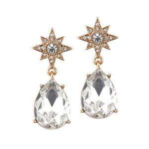Golden Starburst Earrings with CZ Teardrop